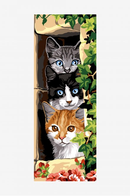 Antique Tapestry Canvas - Three Cats