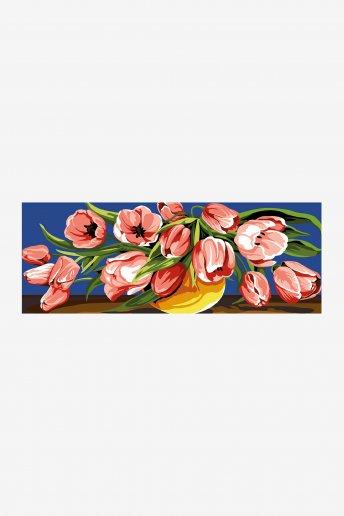 Cañamazo antique - Desbordamiento de tulipanes