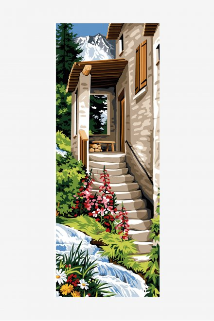 Antique Tapestry Canvas - Mountain Staircase