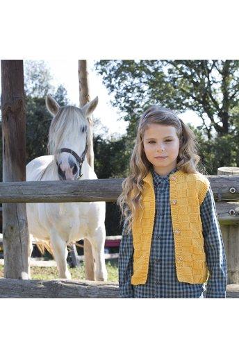 Modelo tricot kalinda chaleco niña -damero amarillo