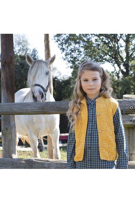Modello tricot Kalinda gilet bambina a punto dama giallo