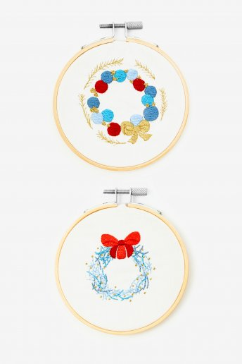 Kit duo déco vintage en broderie traditionnelle
