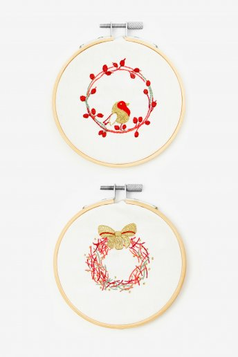 Robin and Wreath Embroidery Kit Duo