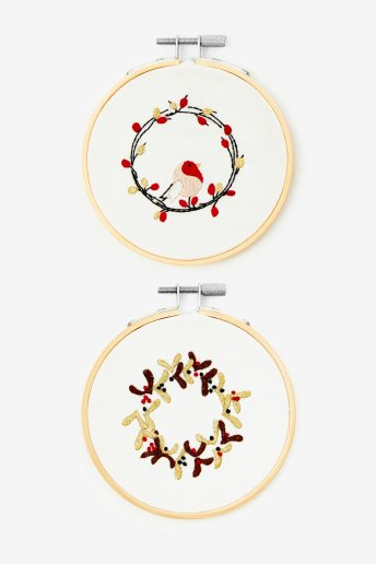 Robin Wreath Embroidery Kit Duo