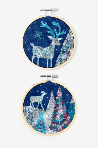 Reindeer Cross-stitch Kit Duo