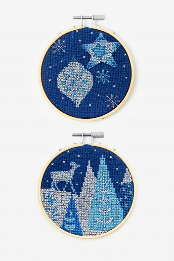 Deer and Baubles Cross-stitch Kit Duo
