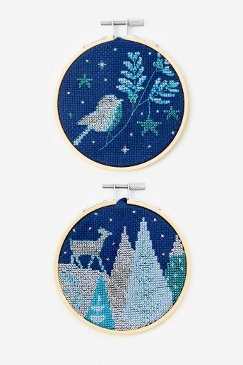 Deer and Robin Cross-stitch Kit Duo