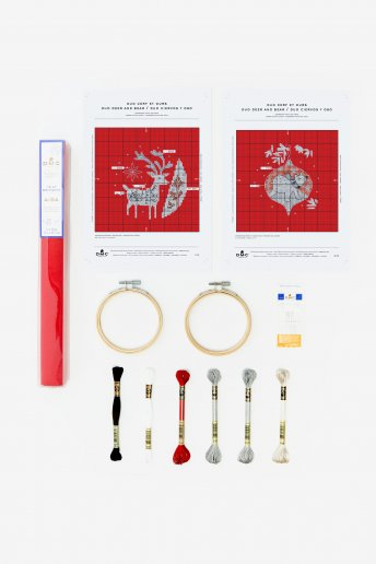 Reindeer and Polar Bear Bauble Cross-stitch Kit Duo