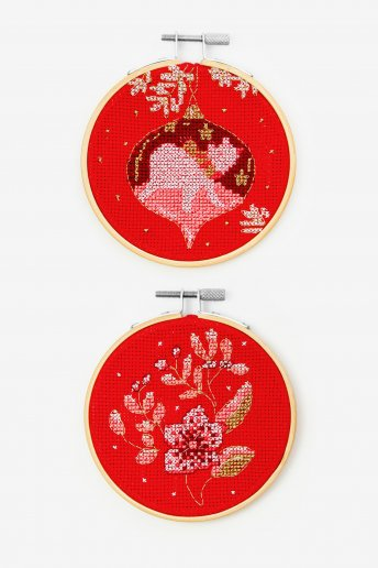 Winter Flowers and Polar Bear Bauble Cross-stitch Kit Duo