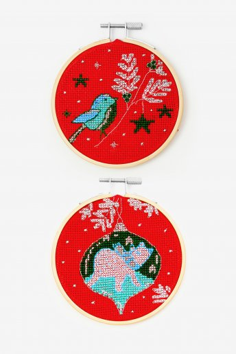 Robin and Polar Bear Bauble Cross-stitch Kit Duo