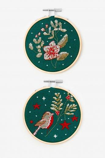 Kit duo pájaro y flores de punto de cruz