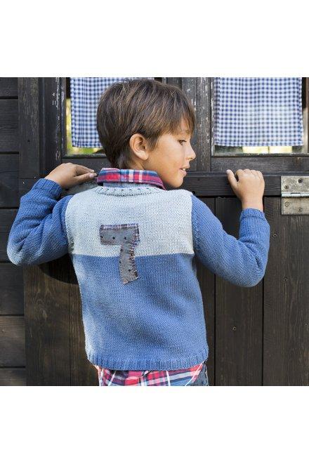 Modello tricot Liam maglioncino blu bicolore