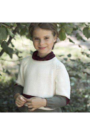 Modello tricot Myrna maglioncino bambina color crema con righe bicolor