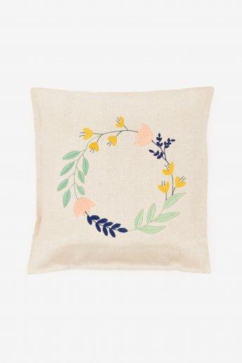 Pack housse de coussin motif couronne de fleurs