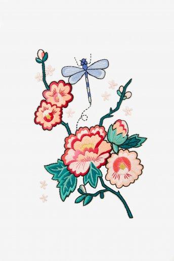 Hello japan pivoine & libellule en été - motif broderie