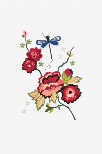 Hello japan peónia de outono e libélula da sorte - desenho