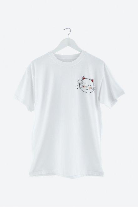 Hello japan lucky maneki neko cat - ricamo
