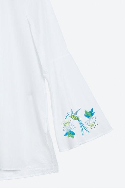 Fleurs & colibri - motif broderie