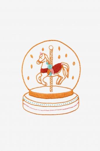 Boule à neige cheval - motif broderie
