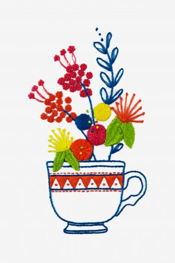 Fleurs & tasse à thé - motif broderie