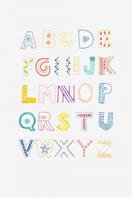 Stitch Alphabet Embroidery FREE Pattern