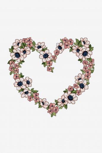 Cœur fleuri - Diagramme point de croix