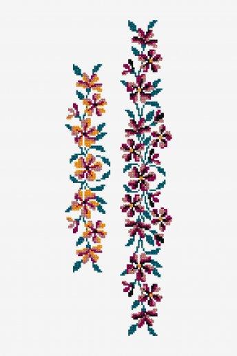 Guirlande de fleurs d'été - Diagramme point de croix