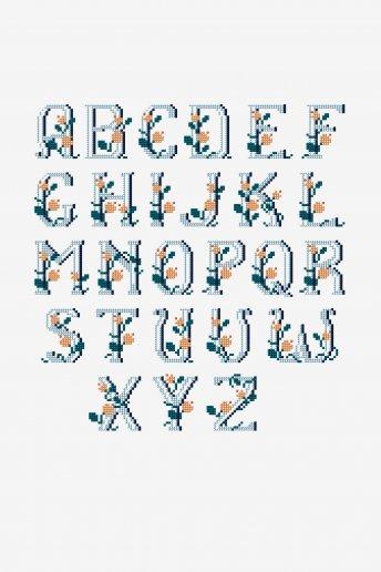 Alphabet romantique - Diagramme point de croix