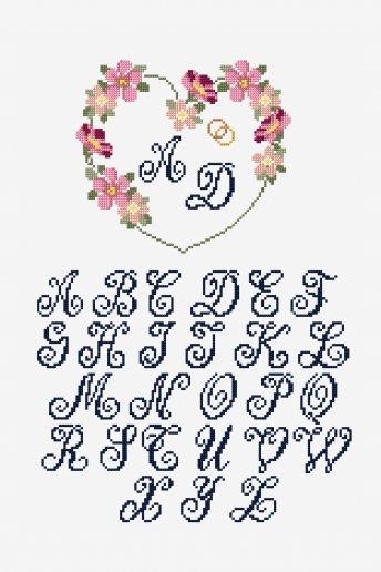 Couronne de fleurs de mariée personnalisée - Diagramme point de croix