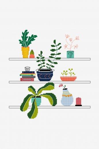 Casa es donde están tus plantas - Diagrama de punto cruz