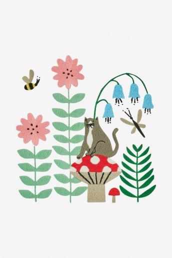 Gato de jardín - Diagrama de bordado