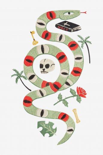 Serpent rose - motif broderie