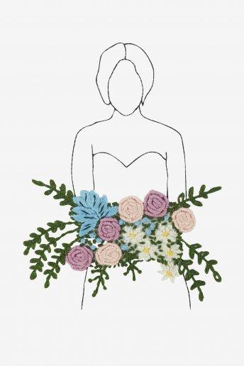 Femme aux fleurs sauvages - motif broderie