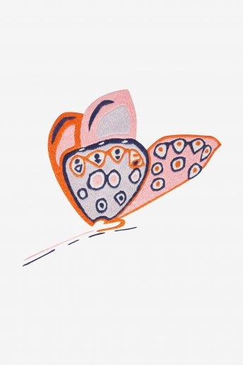 Papillon rose pensée - motif broderie