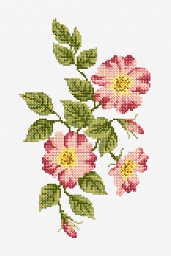 Fleurs roses - motif point de croix