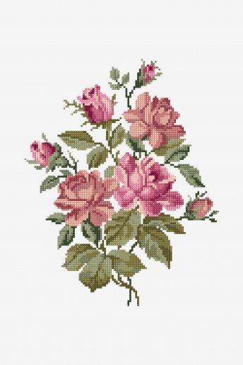 Bouquet de roses roses - motif point de croix