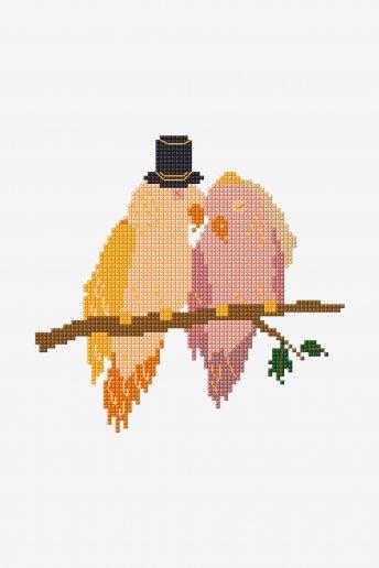 Oiseaux d'amour - motif point de croix