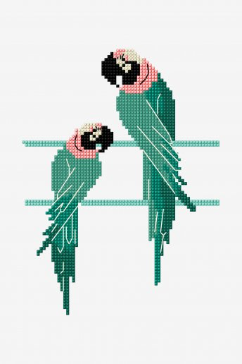 Perroquets - motif point de croix