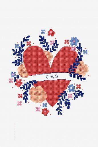 Coeur floral - motif point de croix