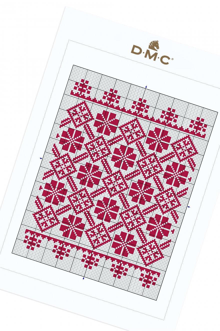 Géométrie rouge - motif point de croix - Modèles Point de ...