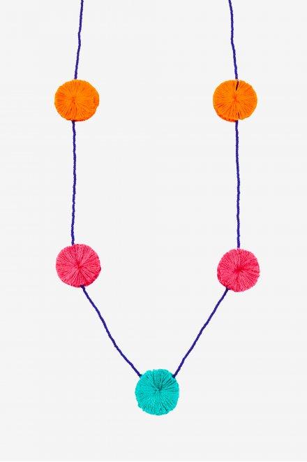 Colar com pompons coloridos - ESQUEMA