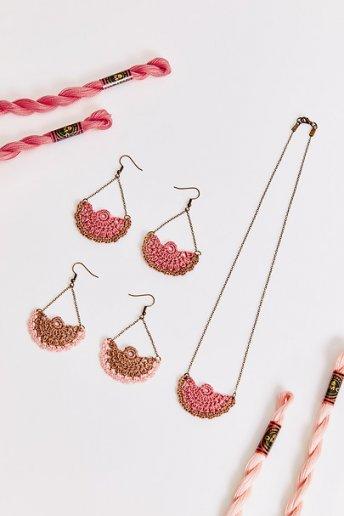 Fan Necklace And Earrings  - patterns