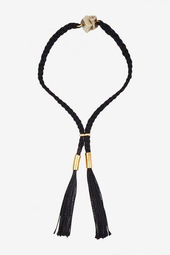 Bracelet noir avec pierre - motif loisirs créatifs