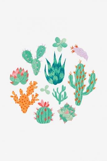 Collection de cactus - motif broderie