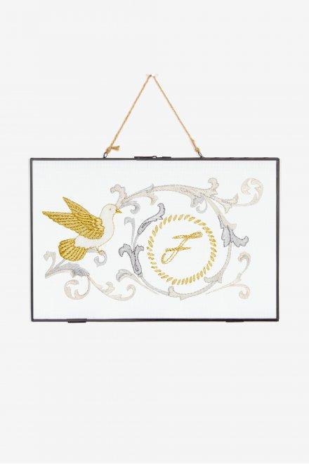 Oiseau et arabesques - motif broderie