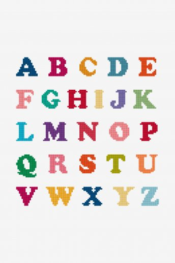 Bright Alphabet Cross Stitch - pattern