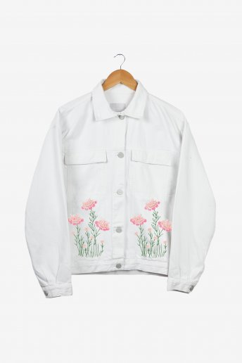 Fleurs sauvages roses - motif broderie