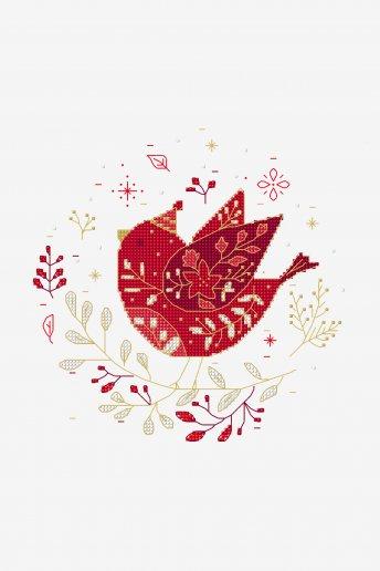 Oiseau folk - motif point de croix