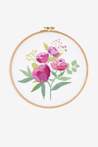Bouquet de pivoines - Motif point de croix