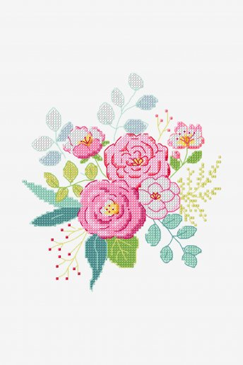 Bouquet de roses - Motif point de croix